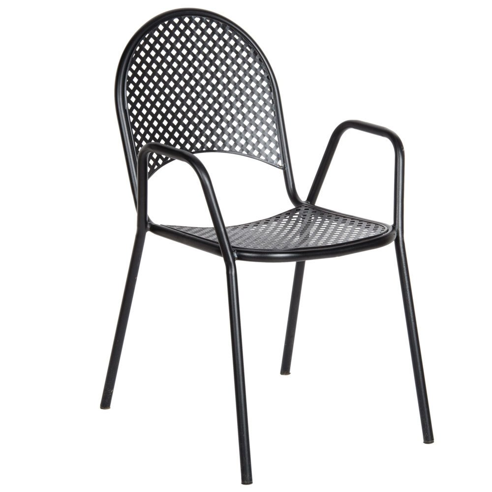 American tables and seating 90b metal black outdoor chair for Metal design chair