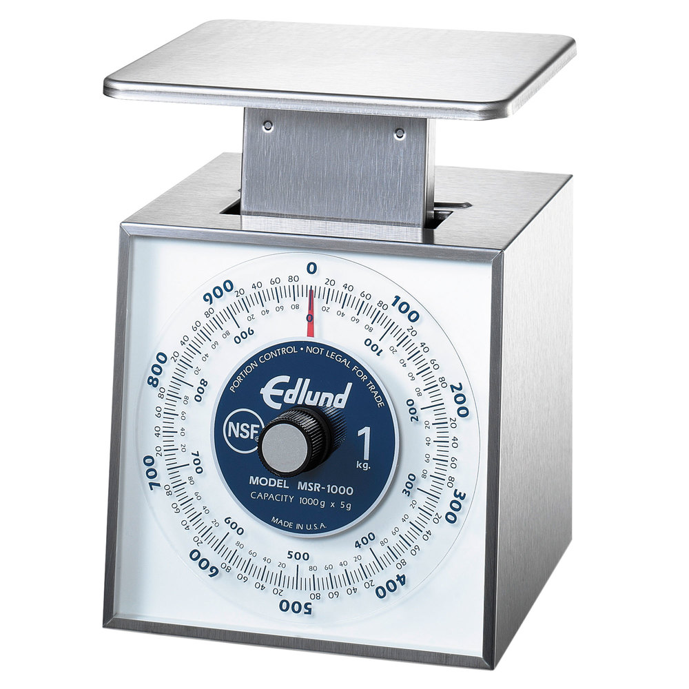 "Edlund MSR-1000 1000 g Stainless Steel Metric Portion Scale with 6"" x 6 3/4"" Platform"