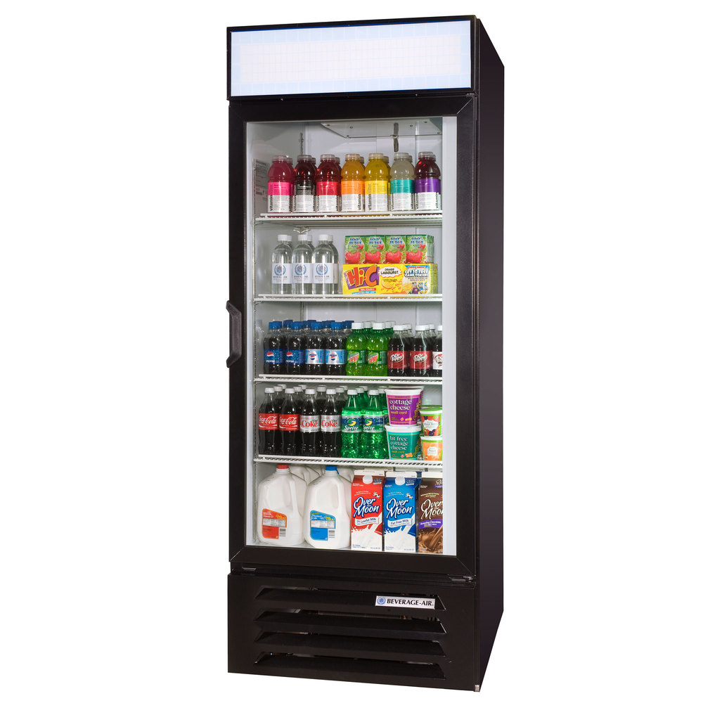 "Beverage Air LV27-1-B Black LumaVue 30"" Refrigerated Glass Door Merchandiser - 27 Cu. Ft."