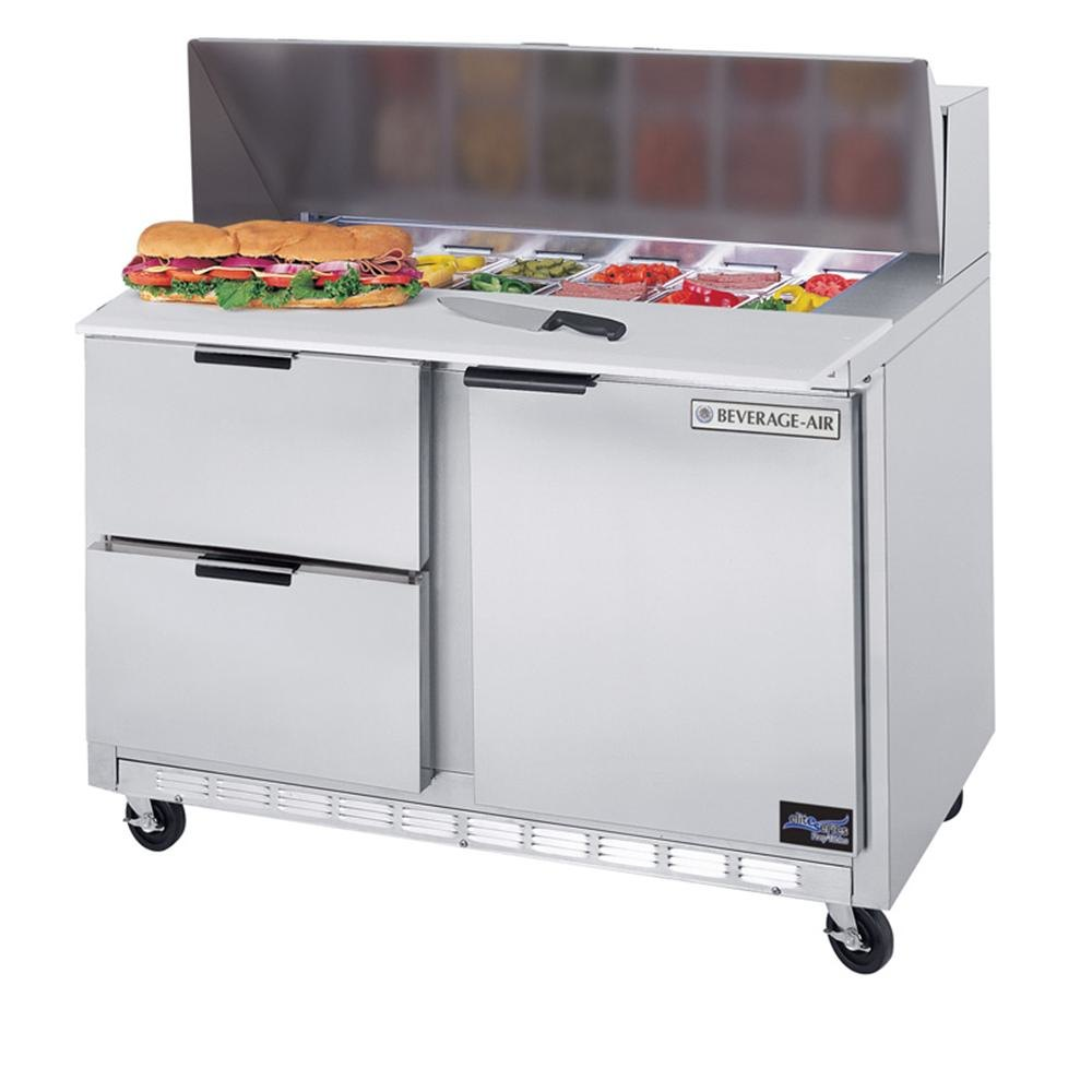 """Beverage Air (Bev Air) SPED48-18M-2 48"""" Mega Top Refrigerated Salad / Sandwich Prep Table with 1 Door and 2 Drawers at Sears.com"""