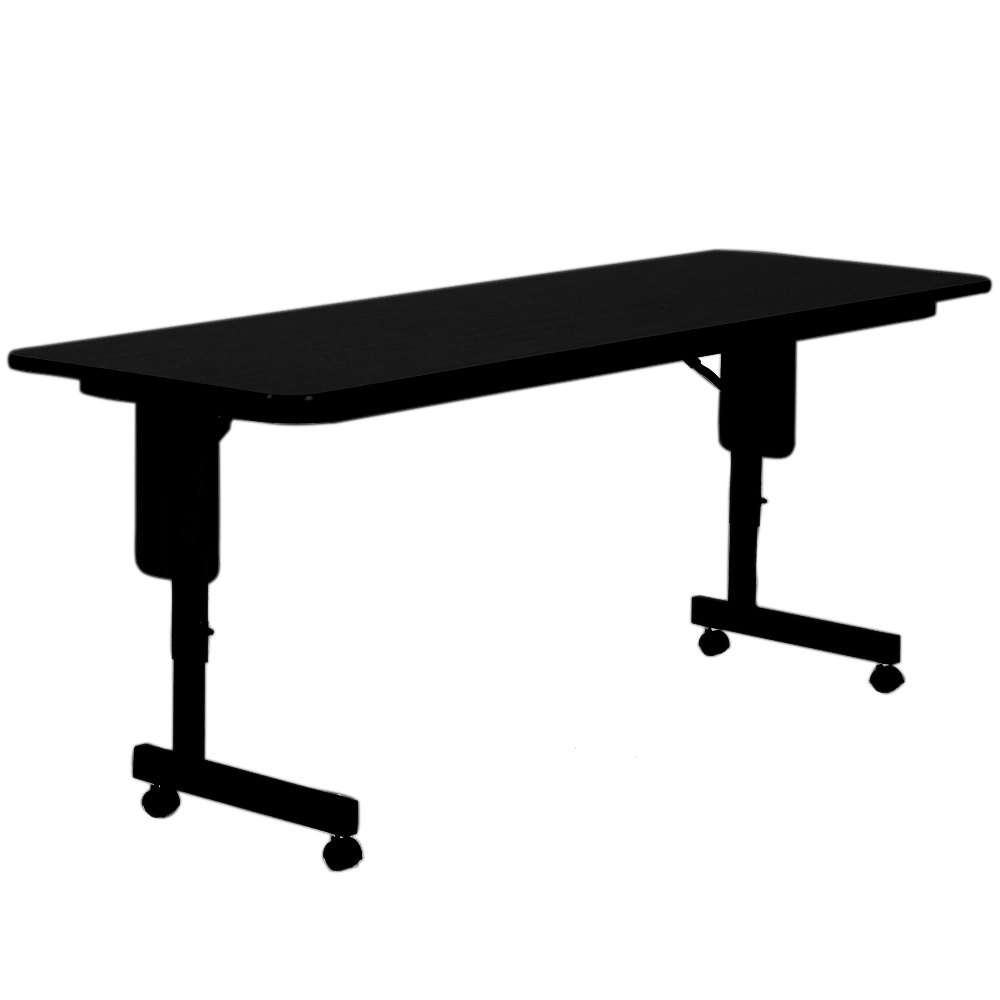 correll spa2472px07 24 x 72 black granite adjustable height panel leg folding seminar table. Black Bedroom Furniture Sets. Home Design Ideas