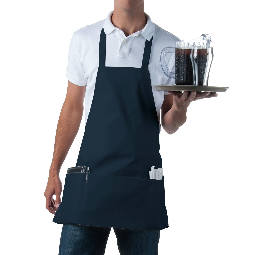 Front Apron : Navy Full Length Front of House Bib Apron with 3 Pockets - 25