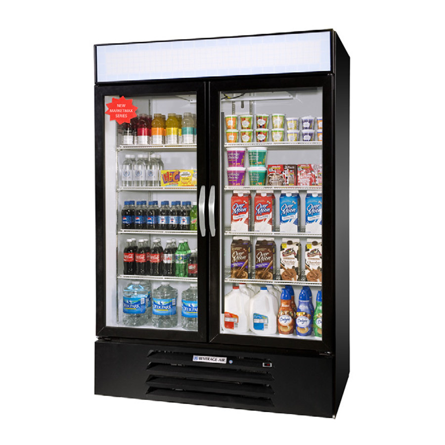 Beverage Air MMR49-1-B-LED Black Marketmax Refrigerated 2 Glass Door Merchandiser with LED Lighting - 49 Cu. Ft. at Sears.com