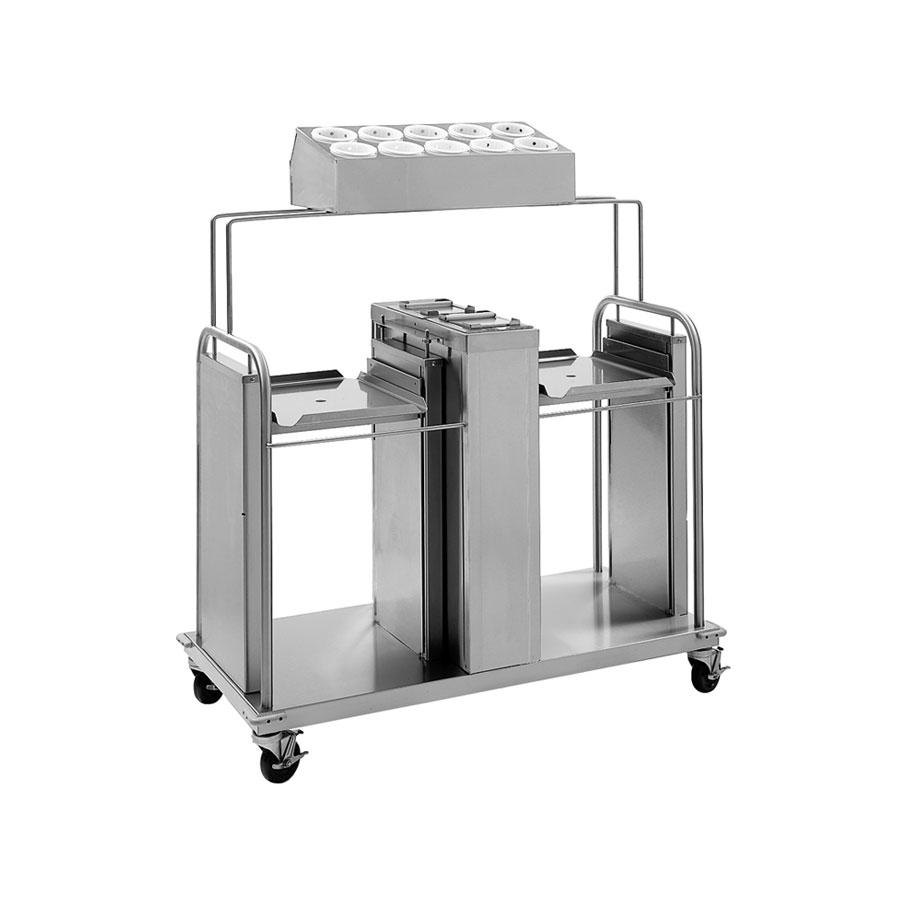 "Delfield FT2-SN-1622SS Stainless Steel Two Stack Tray and Napkin Dispenser with Silverware Bin - for 16"" x 22"" Food Trays"