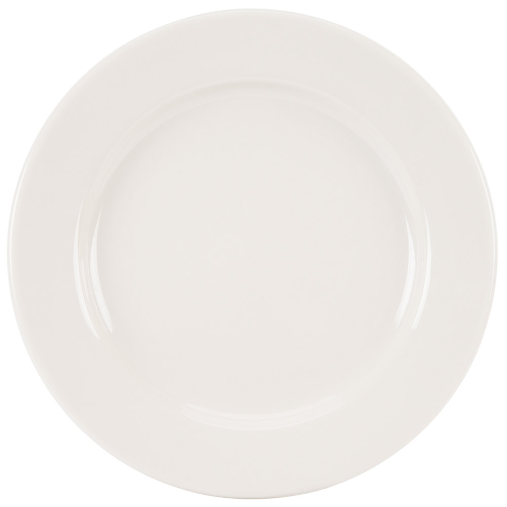 "Homer Laughlin 40700 Durathin 9"" Ivory (American White) China Plate - 24/Case"