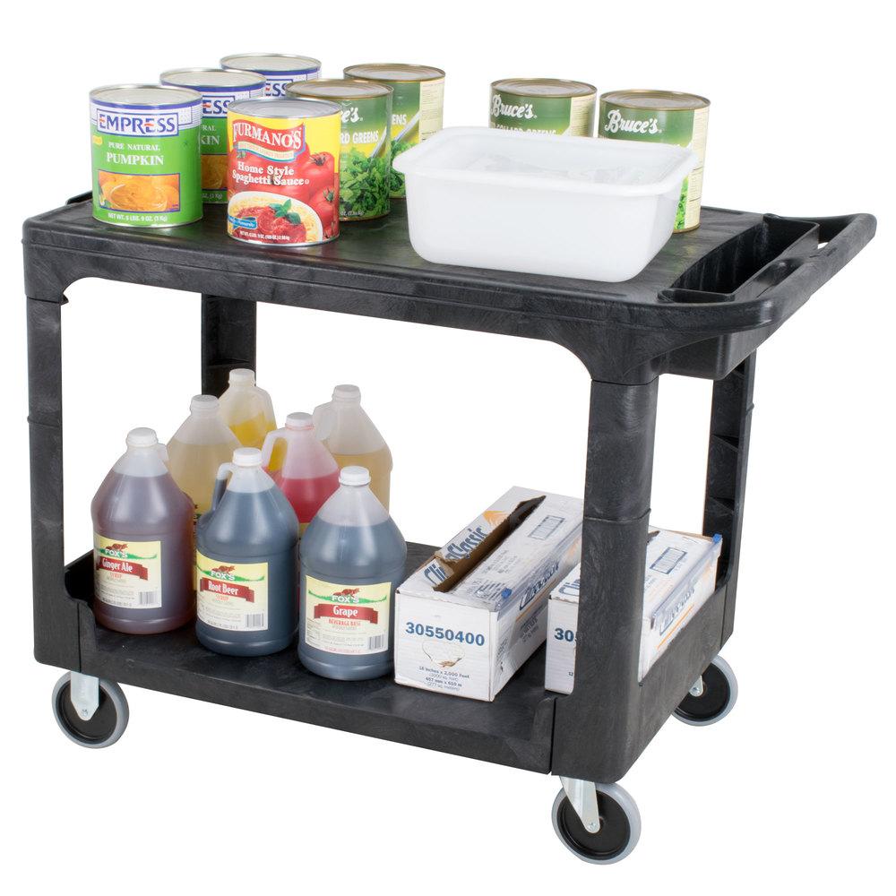 rubbermaid fg452589bla black medium hd two flat shelf heavy duty utility cart - Rubbermaid Utility Cart
