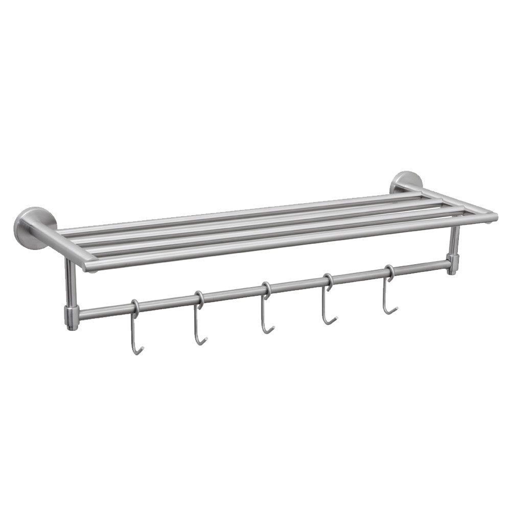 Crescent Suite TRSSBN Towel Rack with Brushed Finish and Hooks