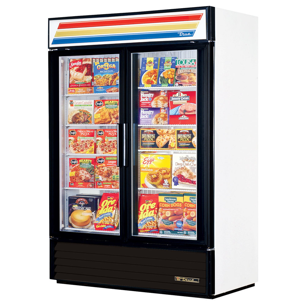 True GDM-49F-LD White Glass Swing Door Merchandiser Freezer with LED Lighting - 49 Cu. Ft.