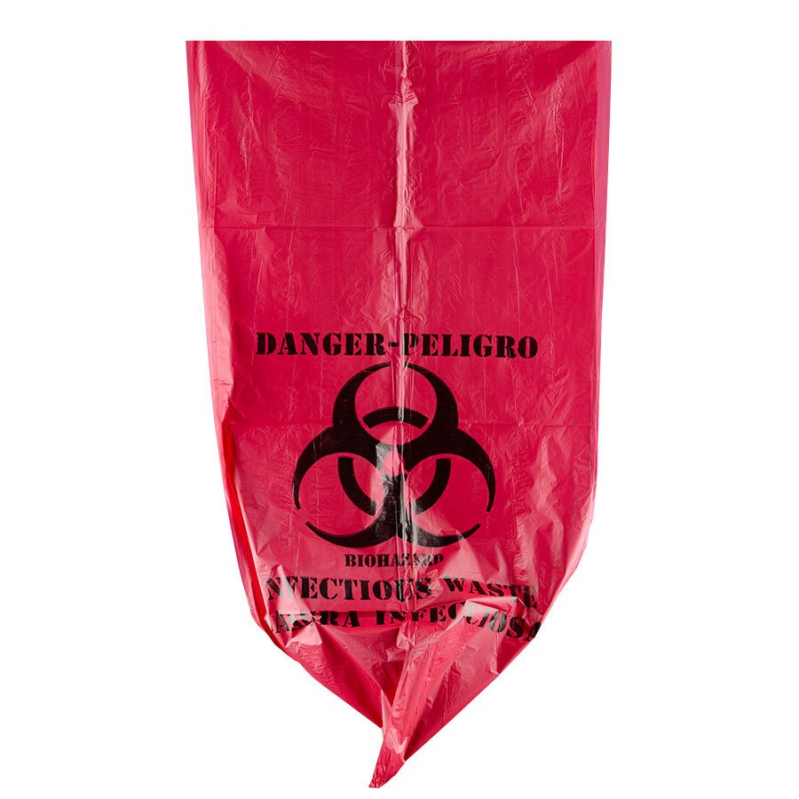 10 gallon 24quot x 24quot red isolation infectious waste bag