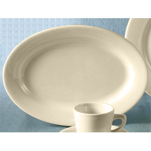 "CAC REC-91 18"" x 12"" Ivory (American White) Wide Rim Rolled Edge Oval China Platter - 6/Case"