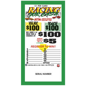 """""""Racing 4 Cash"""" 1 Window Pull Tab Tickets - 300 Tickets Per Deal - Total Payout: $250 at Sears.com"""