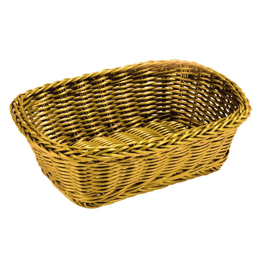 "Yellow Tablecraft Rectangular Rattan Basket 11 1/2"" X 8 1"