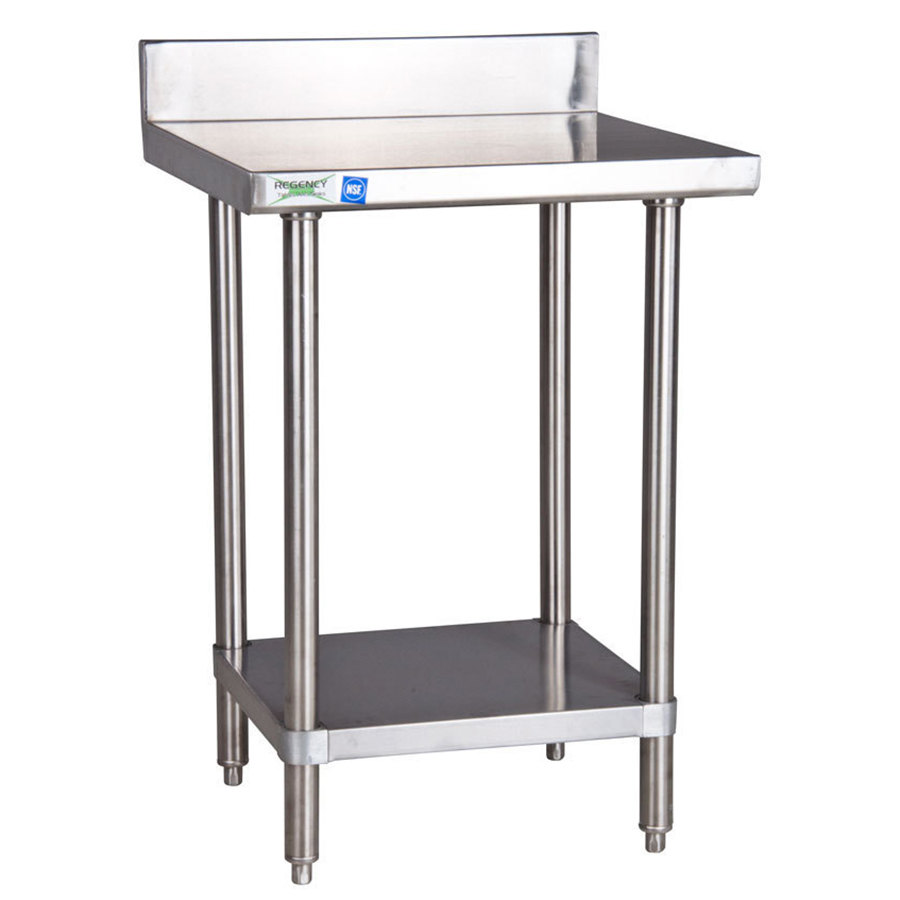 Regency 16 Gauge 24 inch x 30 inch Stainless Steel Commercial Work Table with Undershelf and 4 inch Backsplash