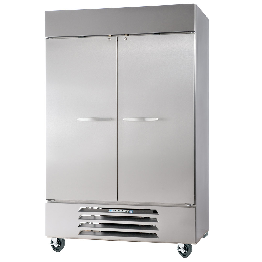 beverage air fb491s 52 inch vista series two section solid door reach in freezer