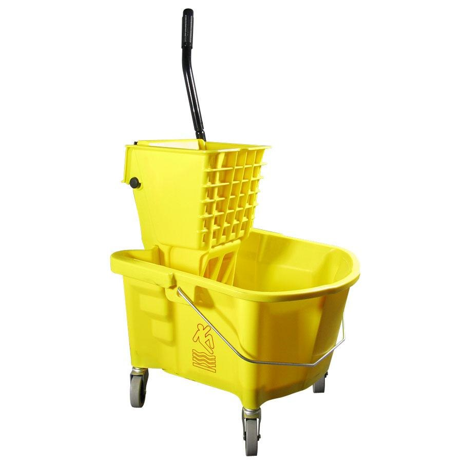 Continental 226-312YW Yellow 26 Quart Splash Guard Side-Press Wringer and Mop Bucket