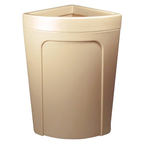 Continental 8324BE Corner'Round 21 Gallon Beige Corner Trash Can - Rim Type