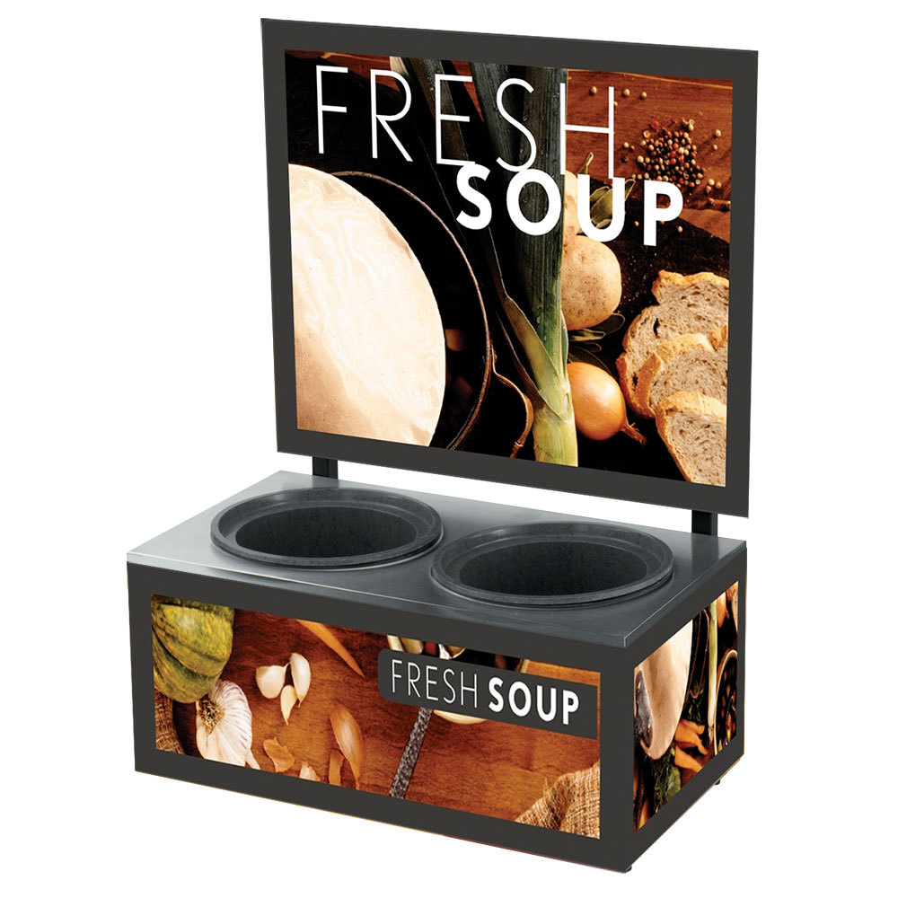 Vollrath 7203102 Twin 7 Qt. Well Soup Merchandiser Base with Menu Board and Tuscan Graphics - 120V, 700W