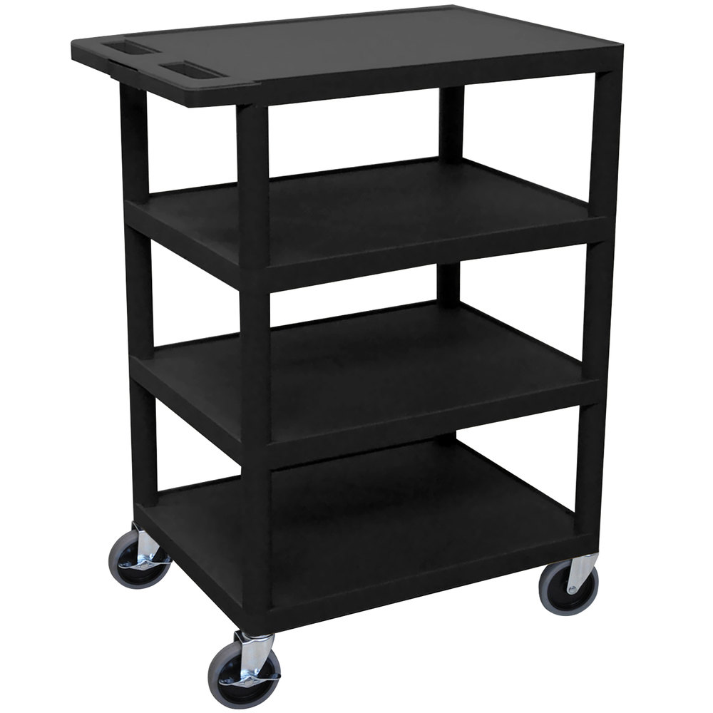 "Luxor BC45 Black 4 Shelf Serving Cart - 18"" x 24"" x 36"""