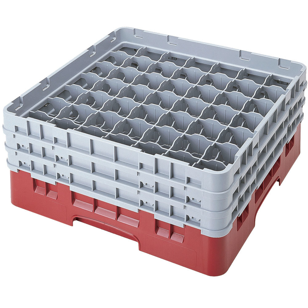 "Cambro 49S638416 Cranberry Camrack 49 Compartment 6 7/8"" Glass Rack"