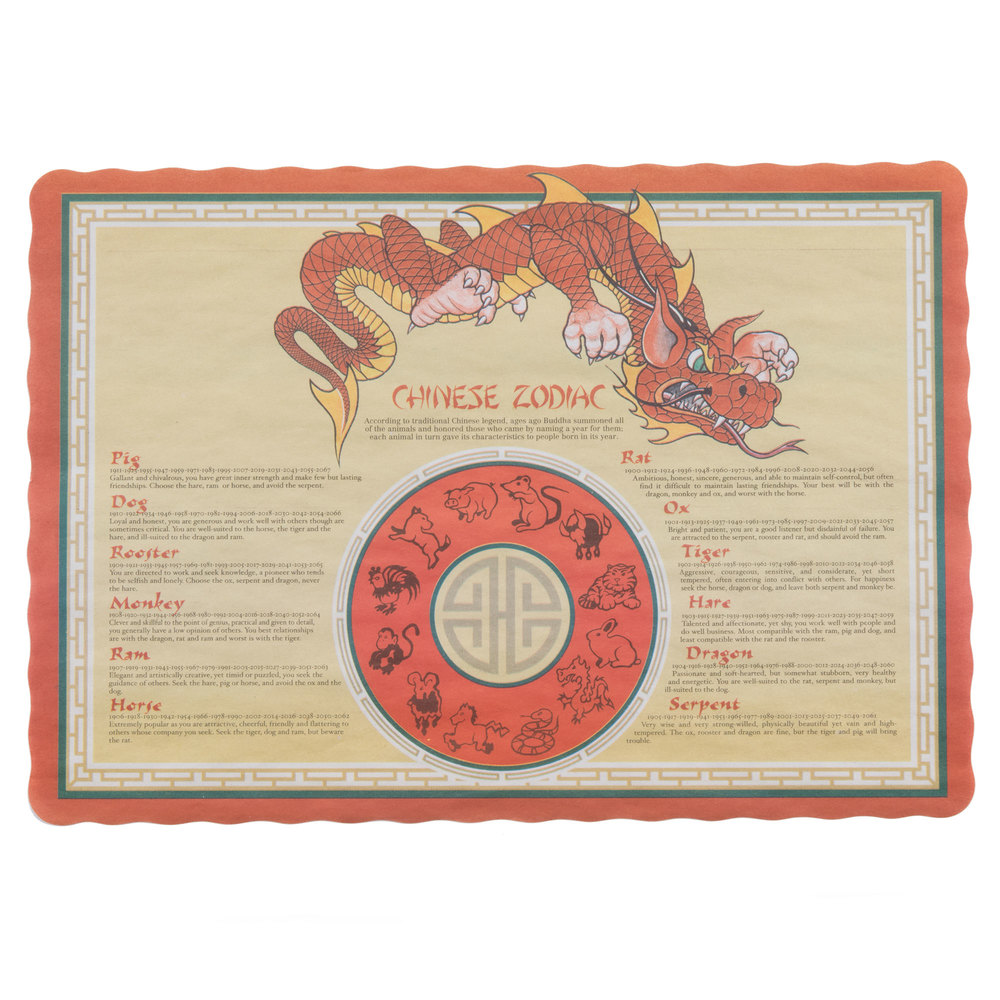 Chinese Zodiac Paper Placemats
