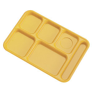 "Cambro PS1014145 Penny-Saver 10"" x 14 1/2"" Yellow 6 Compartment Serving Tray - 24/Case"