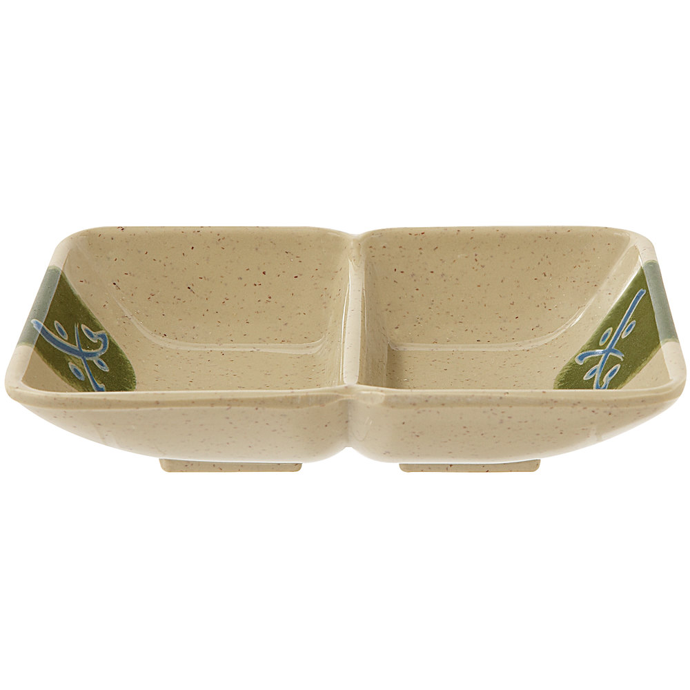 "GET 037-TD Japanese Traditional 1 oz. Two Compartment Sauce Dish 4"" x 3"" - 24/Case"