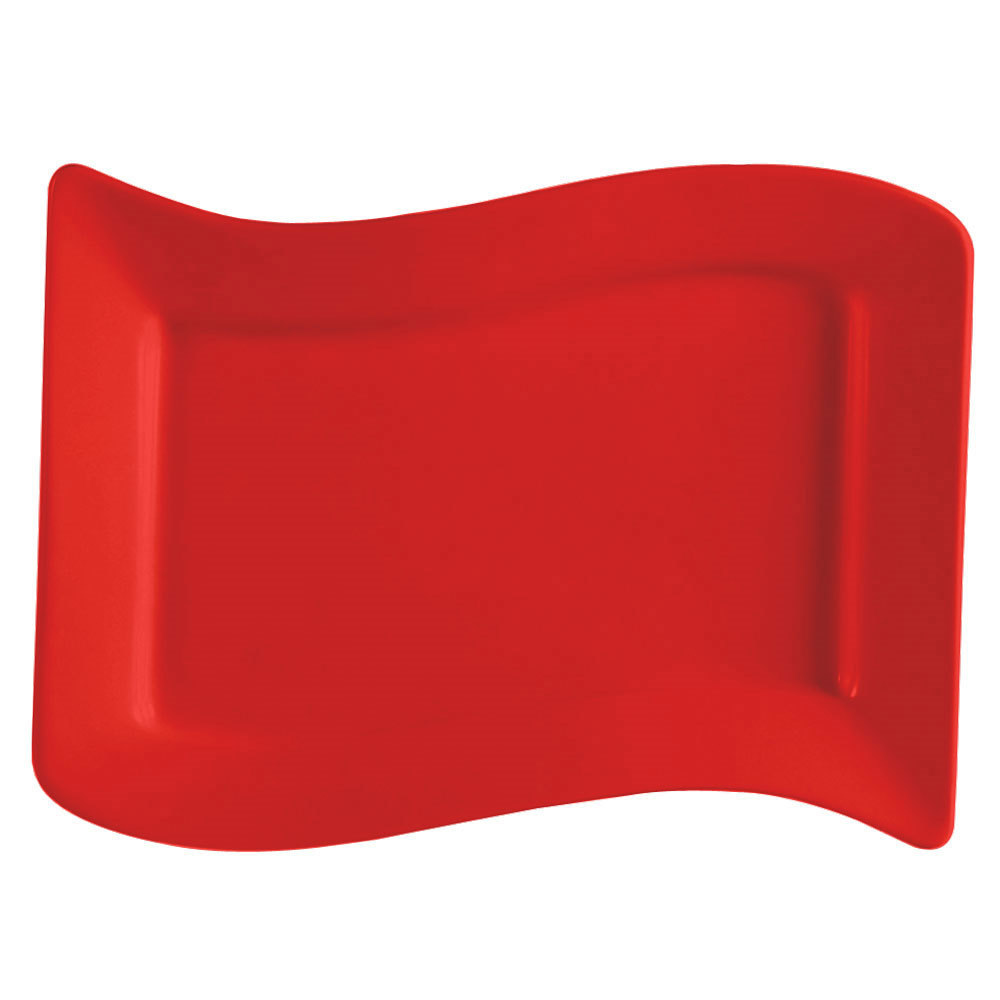 "CAC SOH-51R Color Soho 15 1/2"" x 10 1/2"" Red Rectangular Stoneware Platter - 12/Case"
