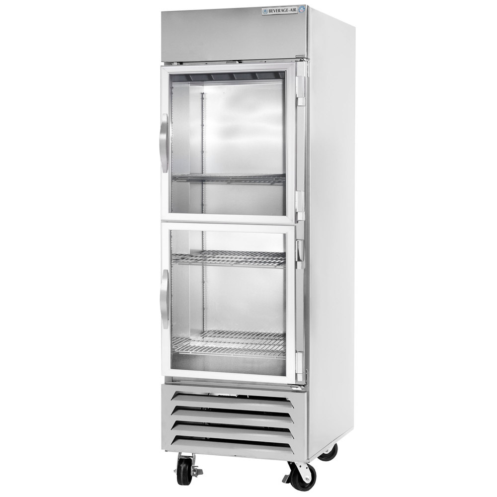 Beverage Air HBF23-1-HG-LED 1 Section Glass Half Door Bottom-Mounted Reach-In Freezer with LED Lighting - 23 Cu. Ft.