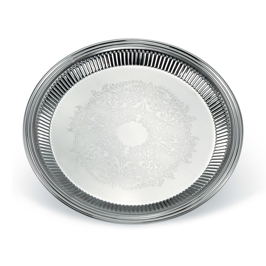 "Vollrath 82168 Esquire 12"" Round Fluted Stainless Steel Tray"