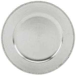 "Tabletop Classics TRS-6629 13"" Silver Round Acrylic Charger Plate with Beaded Rim"