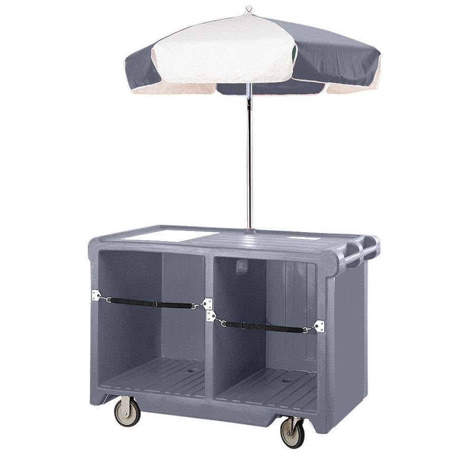 Cambro Camcruiser CVC55191 Granite Gray Vending Cart with Umbrella, 1 Counter Well, and 2 Storage Compartments