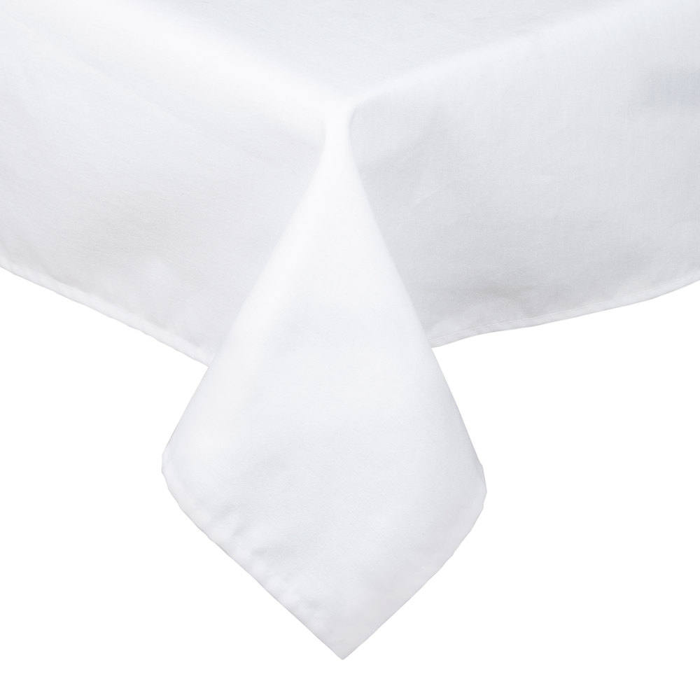 "White Hemmed Poly Cotton Tablecloth - 45"" x 54"""