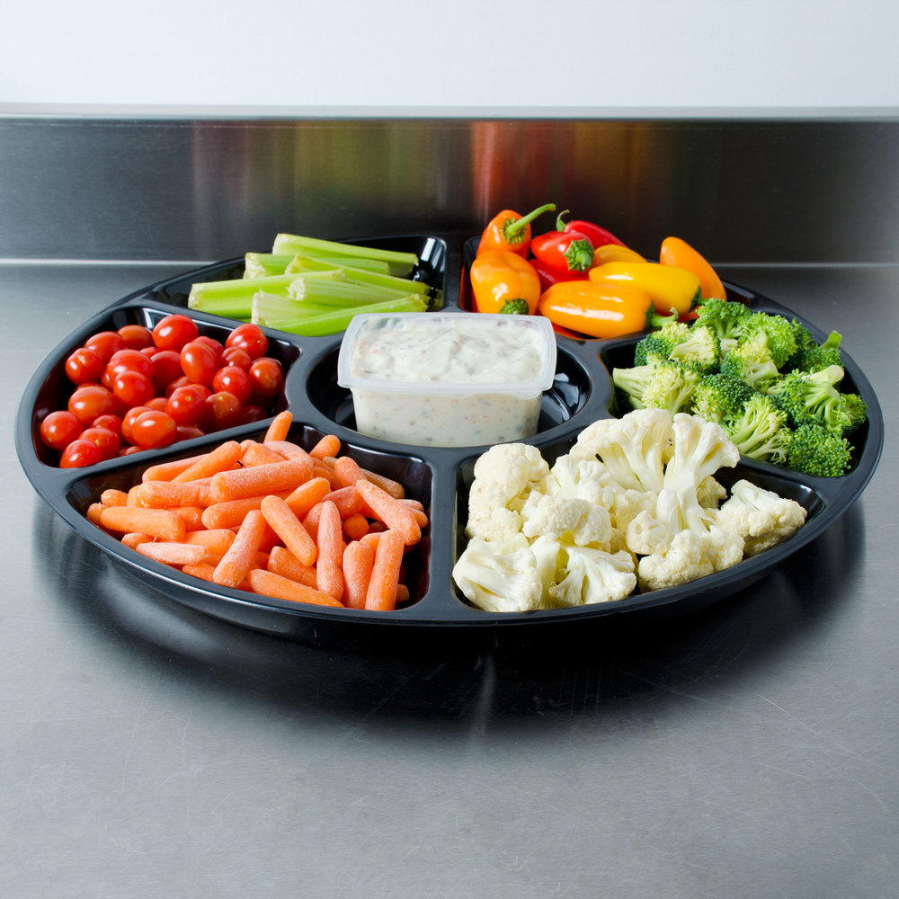 "Fineline Platter Pleasers 3509-BK 18"" 7 Compartment Black Polystyrene Deli / Catering Tray"