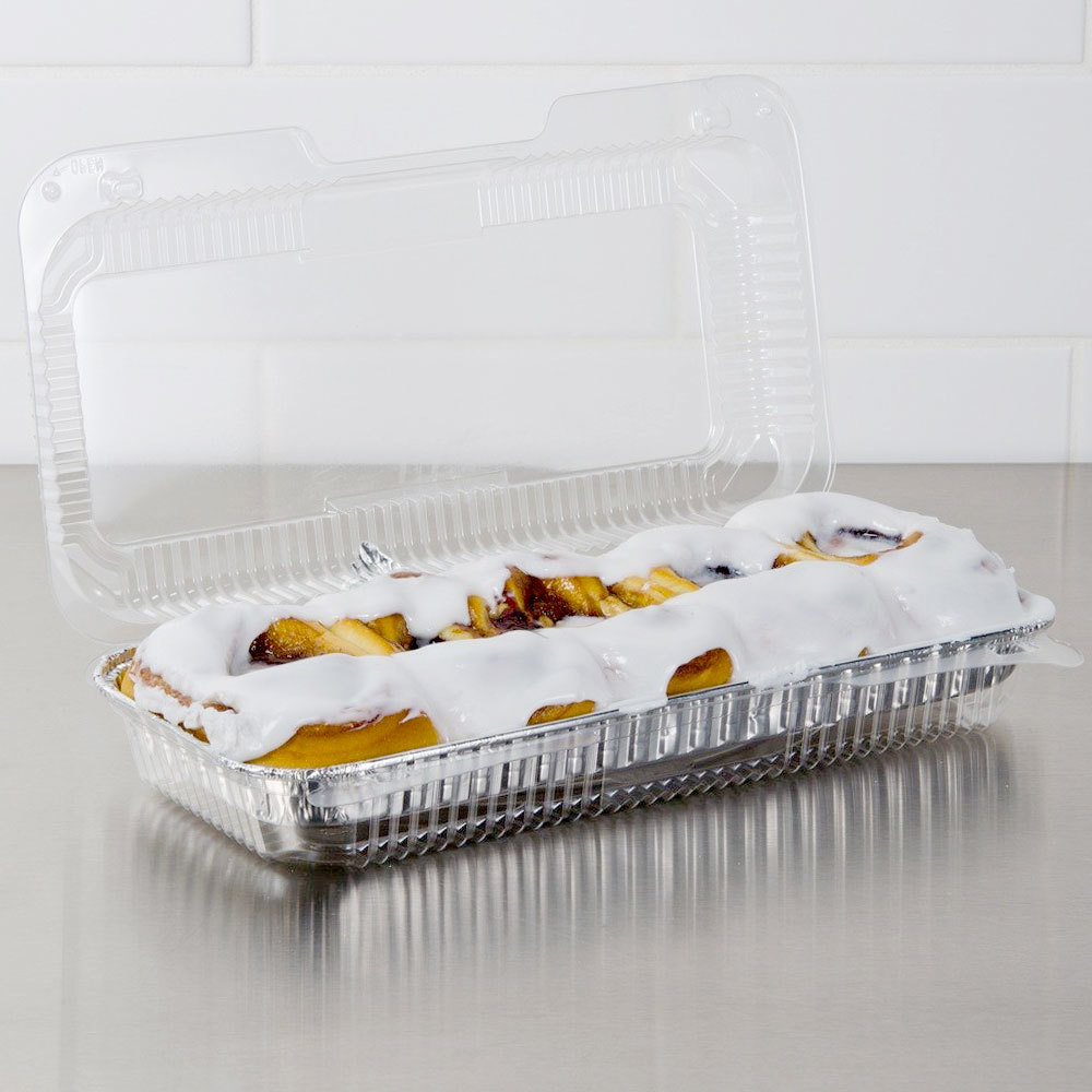"Dart Solo C75UTD StayLock 12 1/2"" x 6 3/8"" x 2 3/8"" Clear Hinged Plastic 12"" Deep Base Strudel Container - 250 / Case"