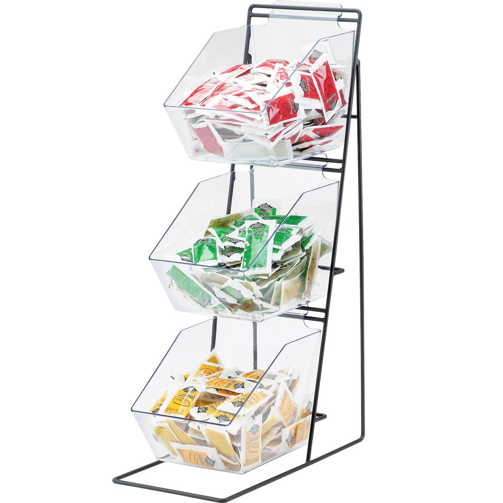 "Cal-Mil 1709 Iron Black Three Tier Condiment Display with Clear Bins - 12"" x 18"" x 22"""