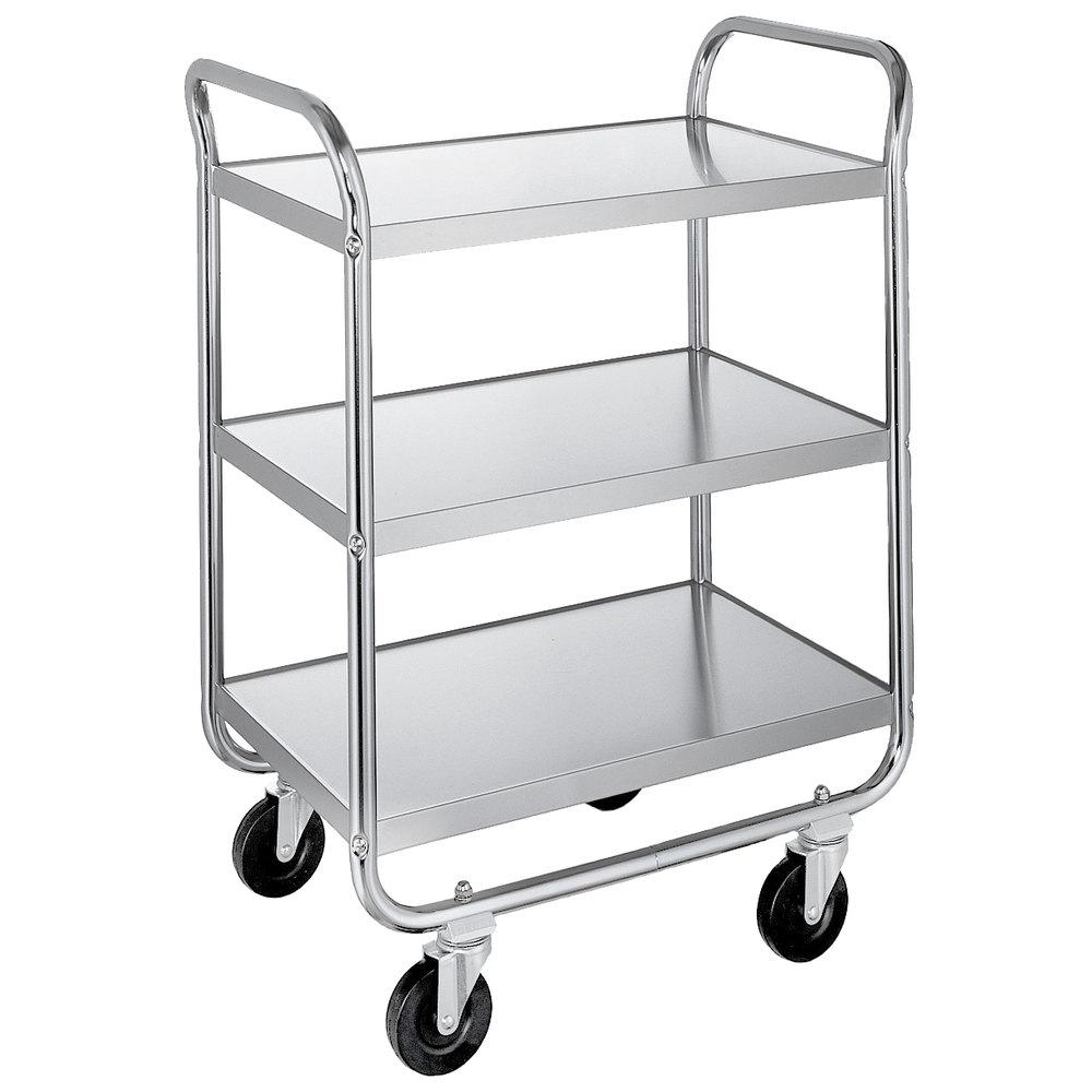 lakeside 489 medium duty stainless steel three shelf tubular utility cart with chrome plated. Black Bedroom Furniture Sets. Home Design Ideas