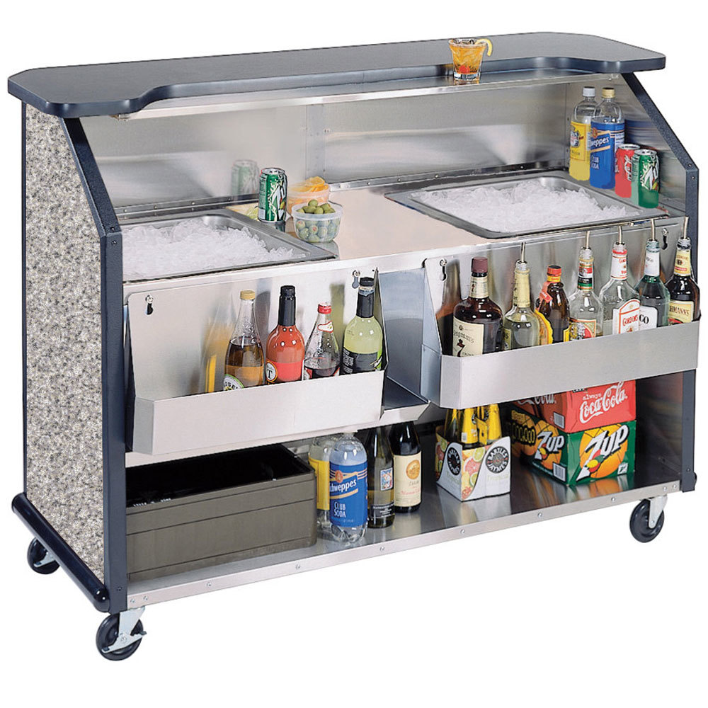 "Lakeside 886 63 1/2"" Stainless Steel Portable Bar with Gray Sand Laminate Finish, 2 Removable 7-Bottle Speed Rails, and 2 40 lb. Ice Bins"