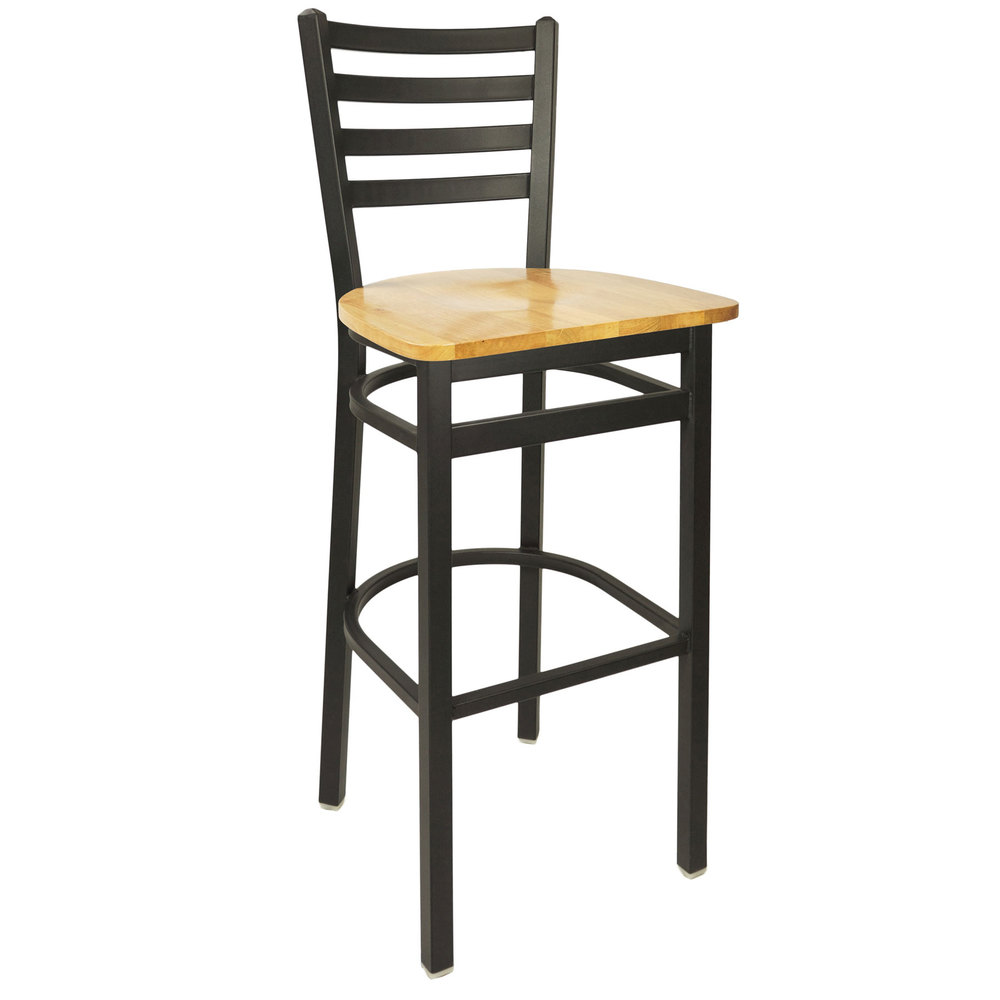 Bfm Seating 2160bntw Sb Lima Metal Ladder Back Barstool With Natural Wooden Seat