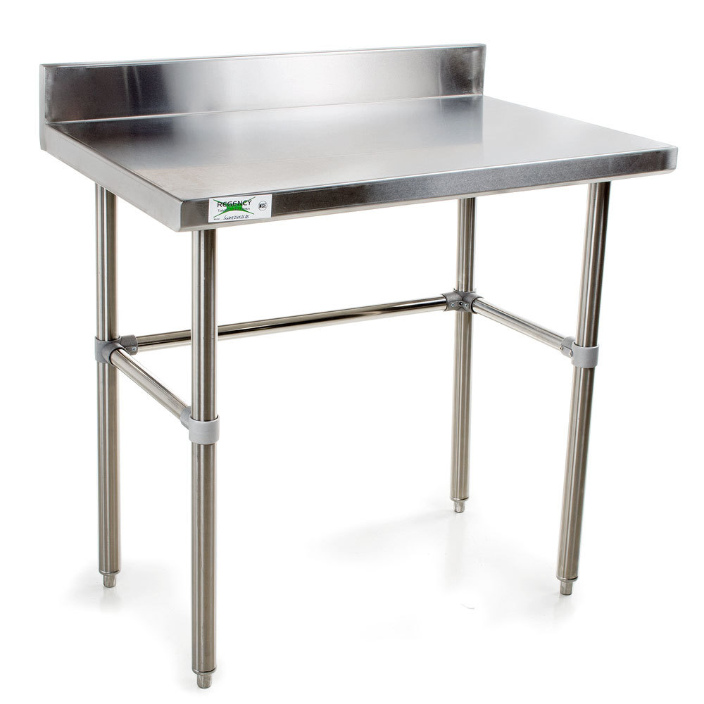 Regency 16 Gauge Stainless Steel 24 inch x 36 inch Commercial Open Base Work Table with 4 inch Backsplash