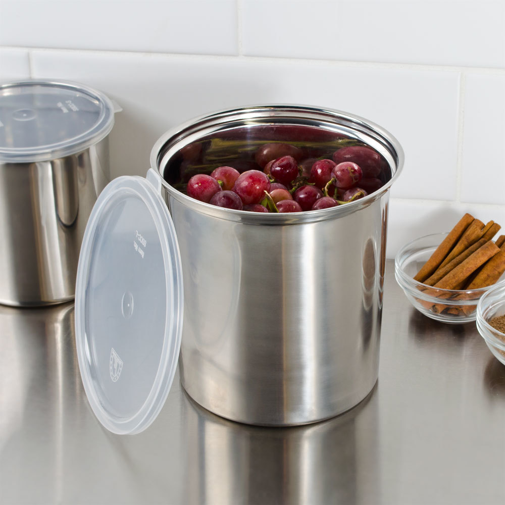 2.7 Qt. Stainless Steel Round Salad Crock with Snap-On Plastic Lid