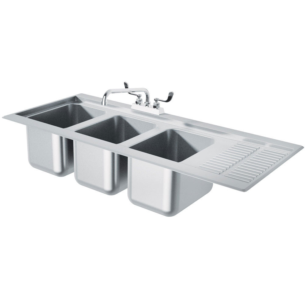 Advance Tabco Dbs 43l Three Compartment Stainless Steel