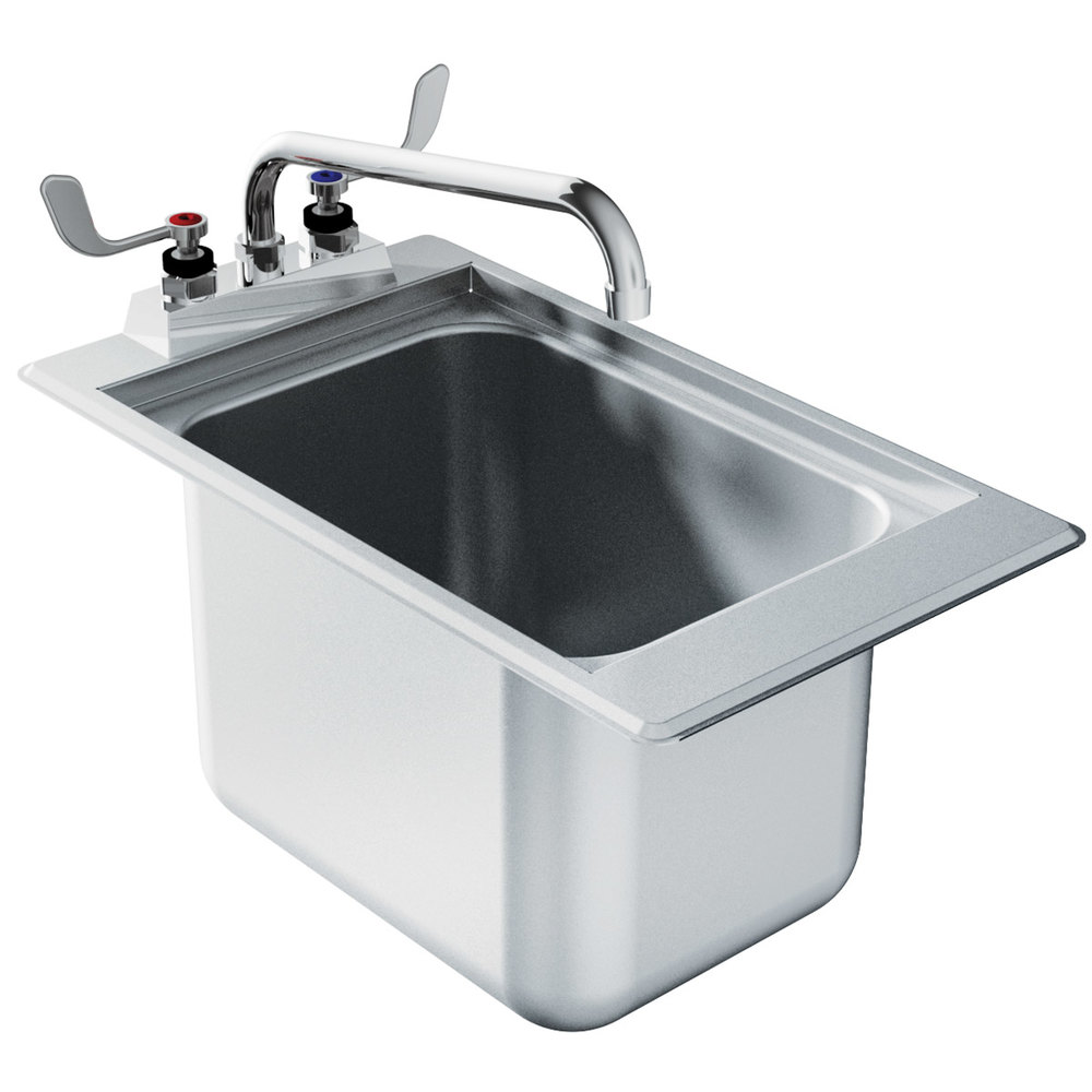 12 Deep Stainless Steel Sink : ... DBS-1 One Compartment Stainless Steel Drop-In Bar Sink - 12
