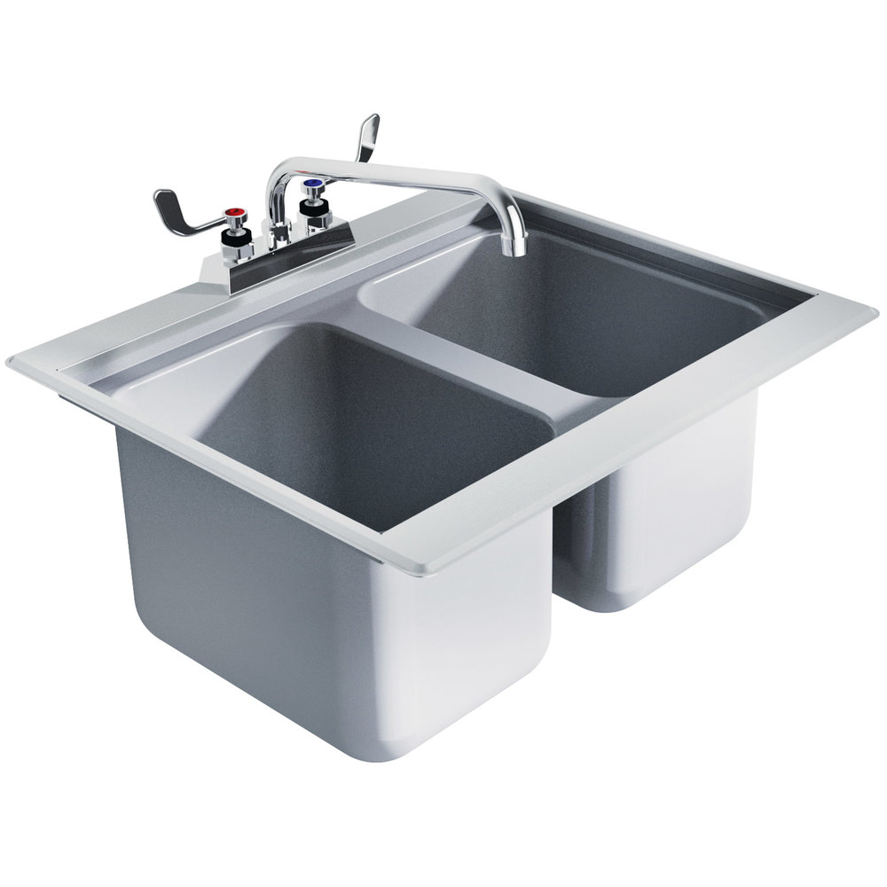 ... DBS-2 Two Compartment Stainless Steel Drop-In Bar Sink - 24
