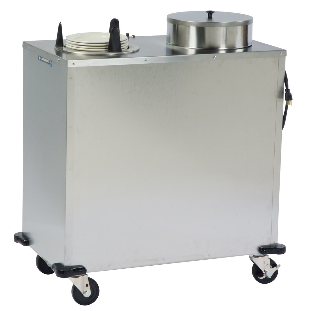 "Lakeside E6210 Enclosed Stainless Steel Heated Two Stack Plate Dispenser for 9 1/4"" to 10 1/8"" Plates"