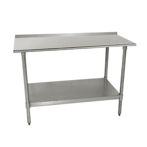 36 430 stainless steel work table with backsplash and undershelf