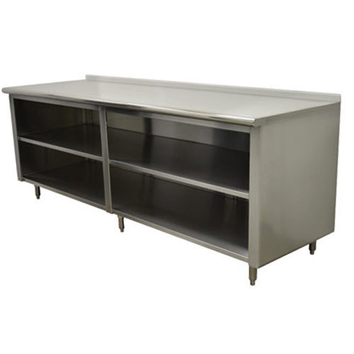 "Advance Tabco EF-SS-2412M 24"" x 144"" 14 Gauge Open Front Cabinet Base Work Table with Fixed Mid Shelf and 1 1/2"" Backsplash"
