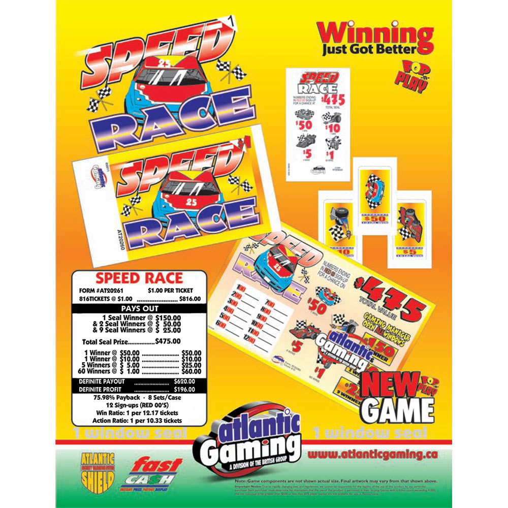"""Speed Race"" 1 Window Pull Tab Tickets - 816 Tickets Per Deal - Total Payout: $620 at Sears.com"