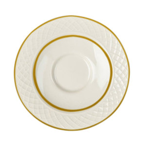 "Homer Laughlin 1420-0328 Westminster Gothic Off White 4 1/2"" China Saucer - 36/Case"