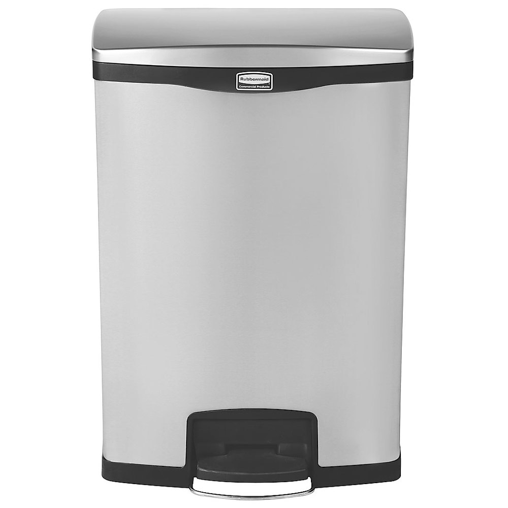 Rubbermaid Kitchen Trash Cans #18: Rubbermaid 1902001 Slim Jim Stainless Steel Black Accent Front Step-On Trash Can With Rigid ...