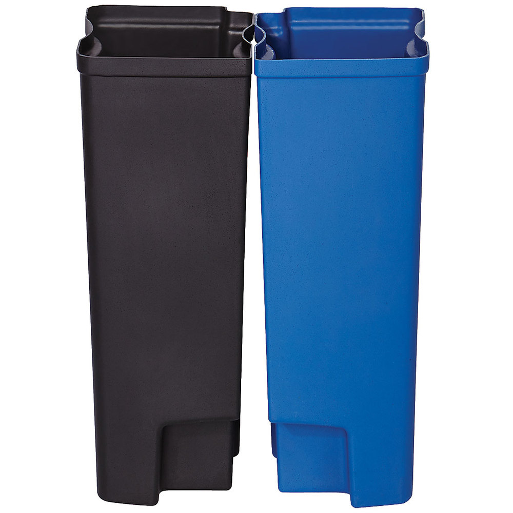 Rubbermaid 1902009 Slim Jim Black And Blue Dual Waste Recycling Plastic Liner Set For 13 Gallon Stainless Steel End Step On Trash Can